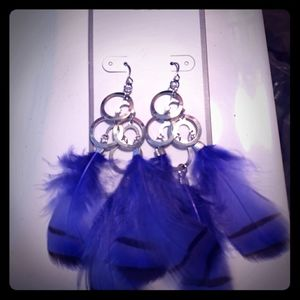 Jewelry - NWT Purple/Blue Feather Earrings